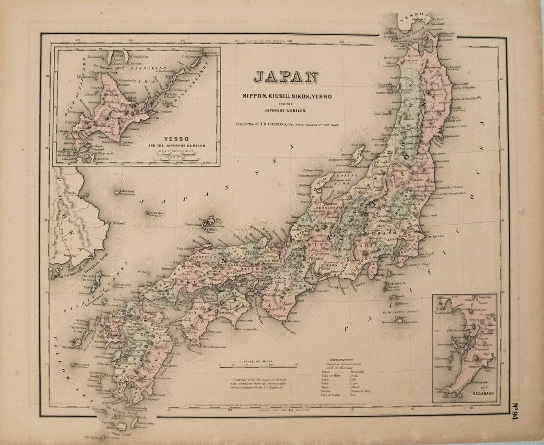 1855 Colton Map of Japan -- Japan Nippon, Kiusiu,