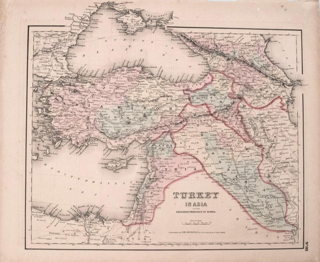 1855 Colton Map of Turkey in Asia / Middle East --
