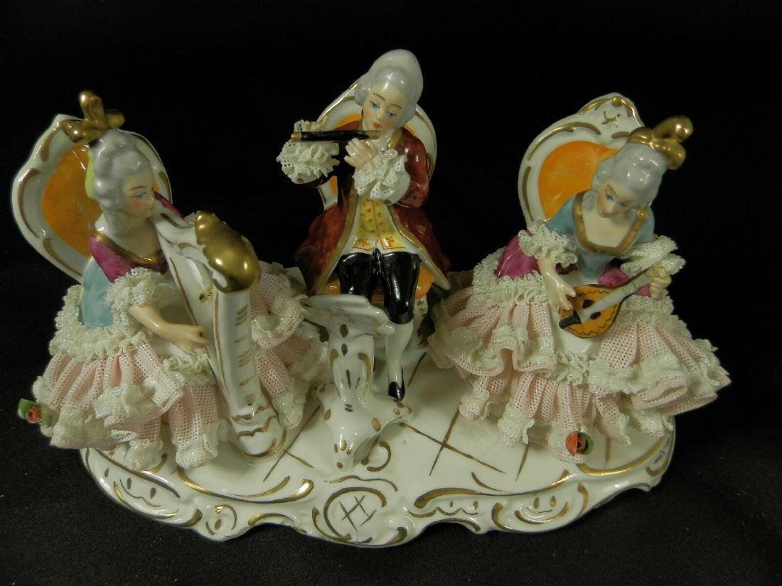 Orchestra group hand painted Dresden Porcelain - 10