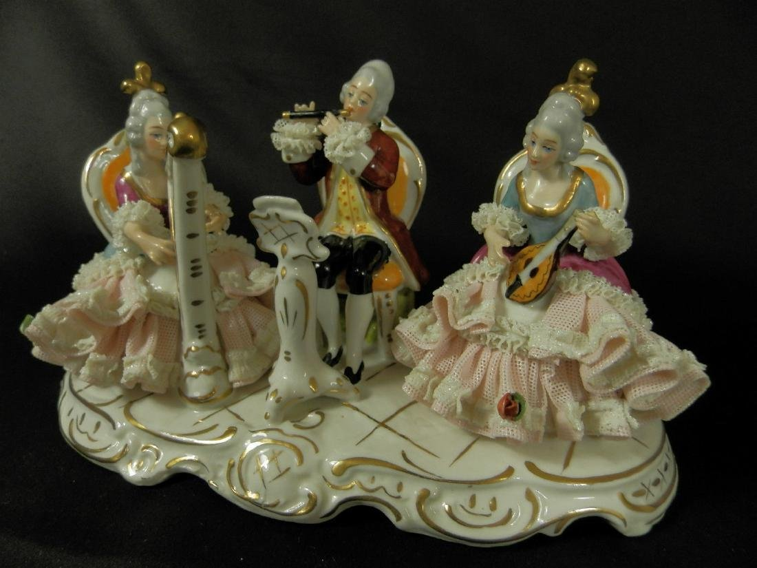 Orchestra group hand painted Dresden Porcelain - 3