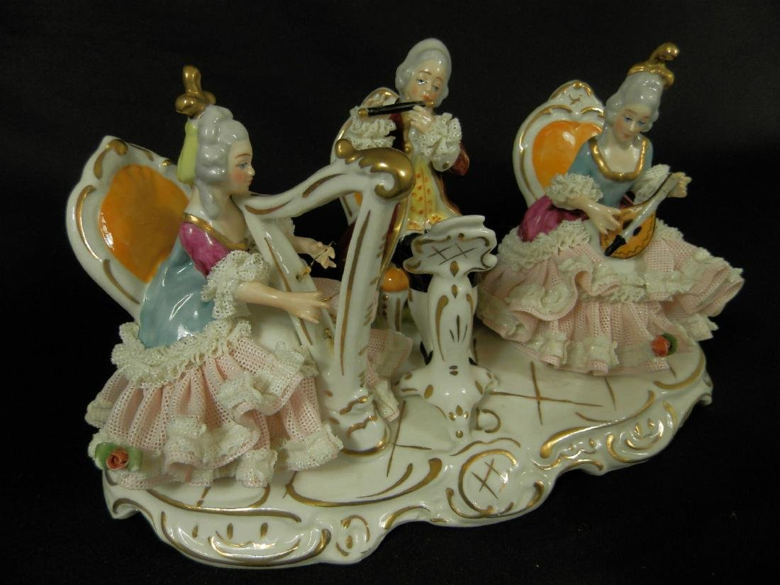 Orchestra group hand painted Dresden Porcelain - 4