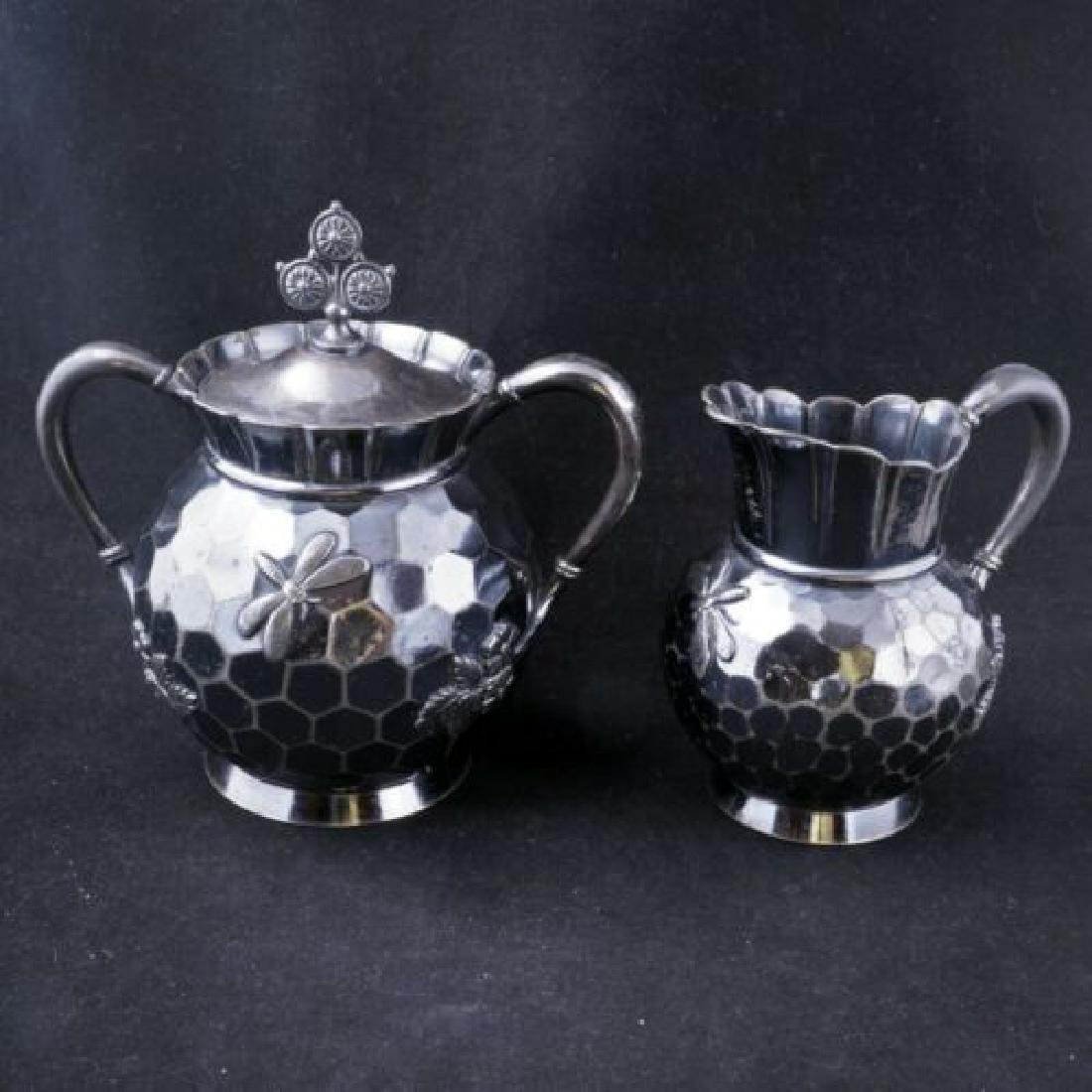 Aesthetic movement Victorian silver plate sugar and