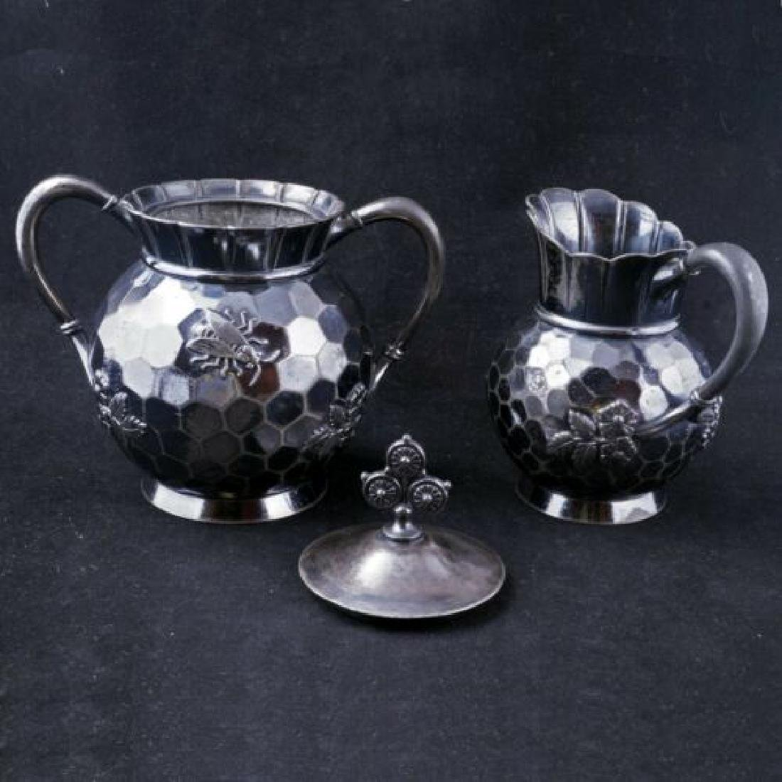 Aesthetic movement Victorian silver plate sugar and - 3