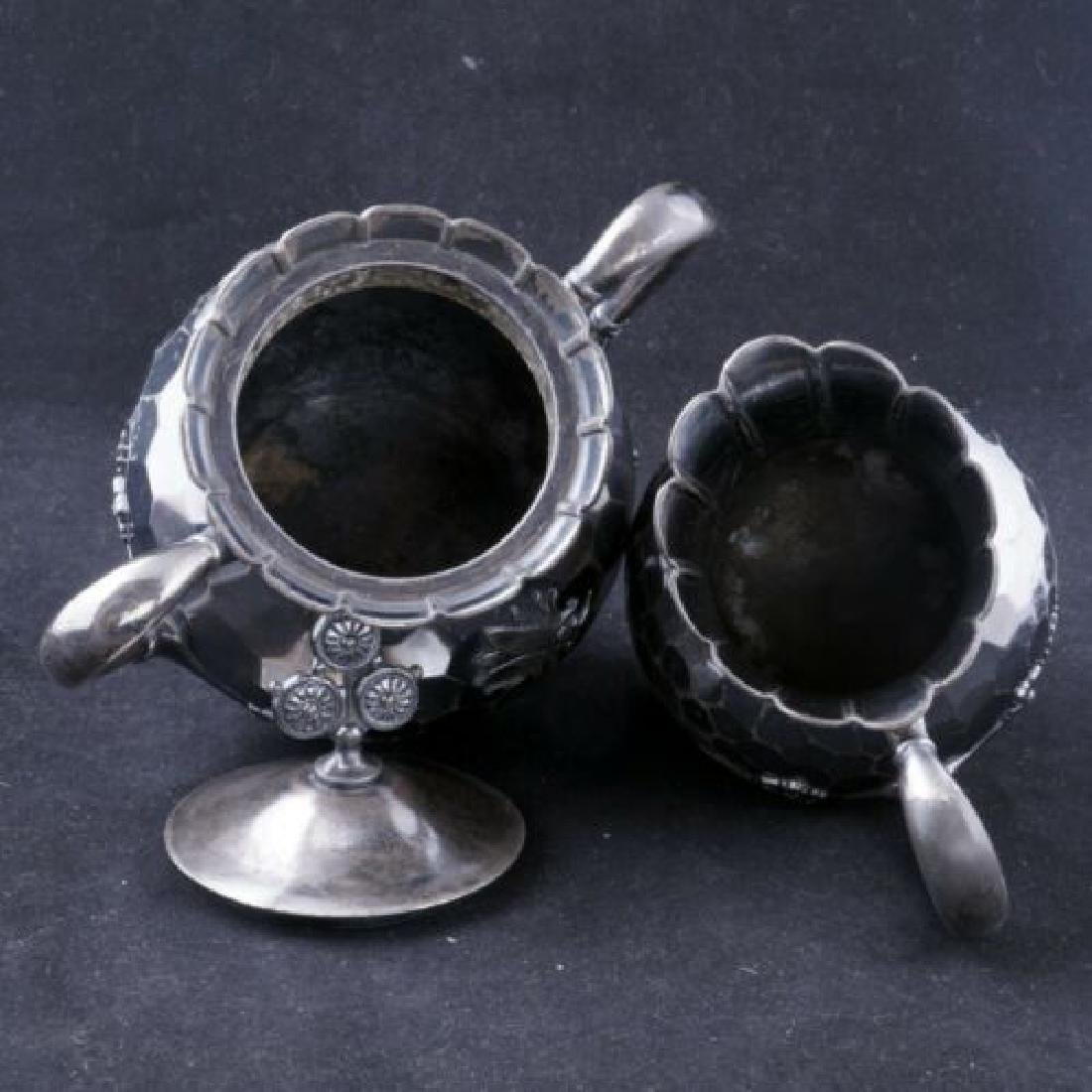 Aesthetic movement Victorian silver plate sugar and - 4