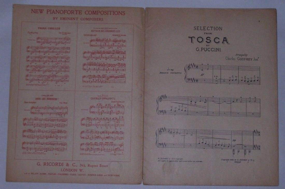 Tosca Opera Sheet Music. Art by Hohenstein - Printed by - 3
