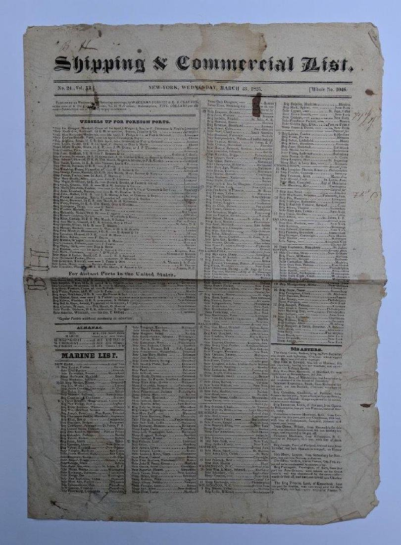 1825 NEW YORK NY NYC SHIPPING & COMMERCIAL LIST