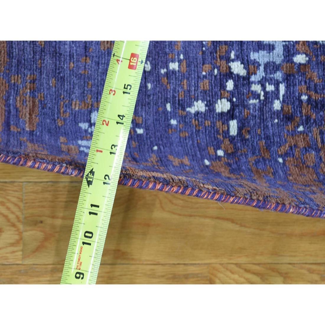 Wool and Silk Modern Broken Design Hand-Knotted Rug - 3