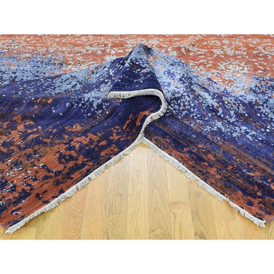 Wool and Silk Modern Broken Design Hand-Knotted Rug - 7
