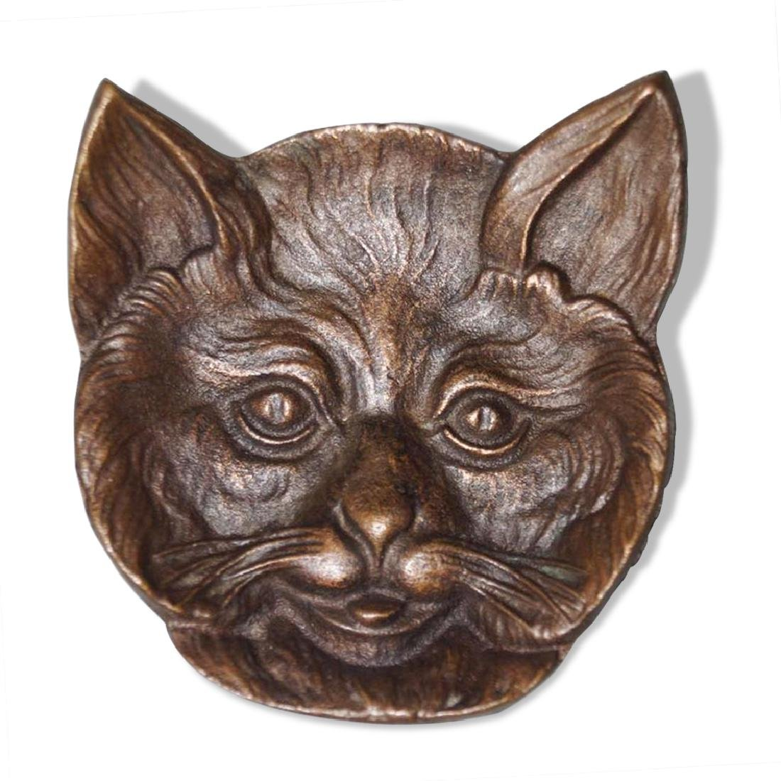 Antique Cat Head Cast Brass Tip Tray