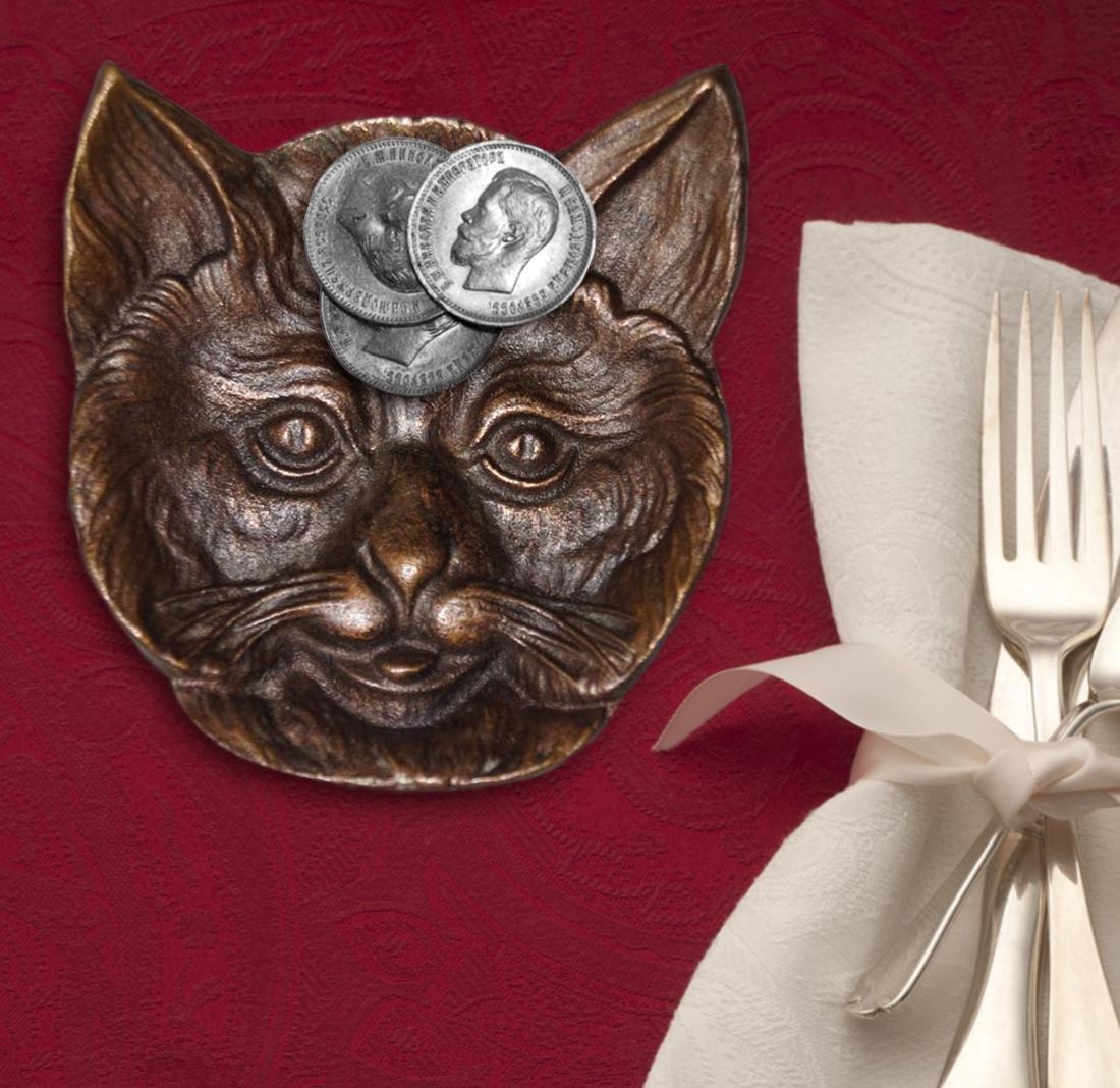Antique Cat Head Cast Brass Tip Tray - 2