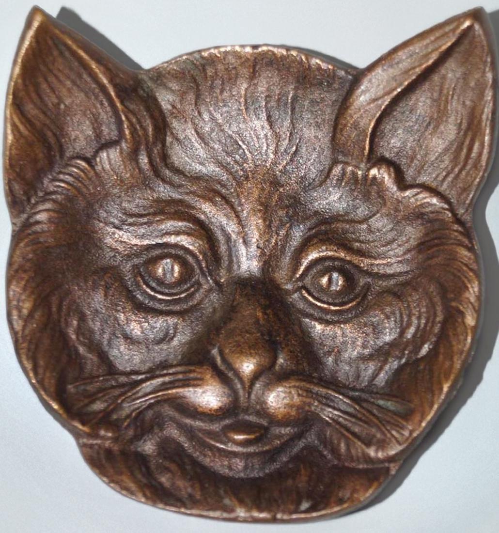 Antique Cat Head Cast Brass Tip Tray - 4