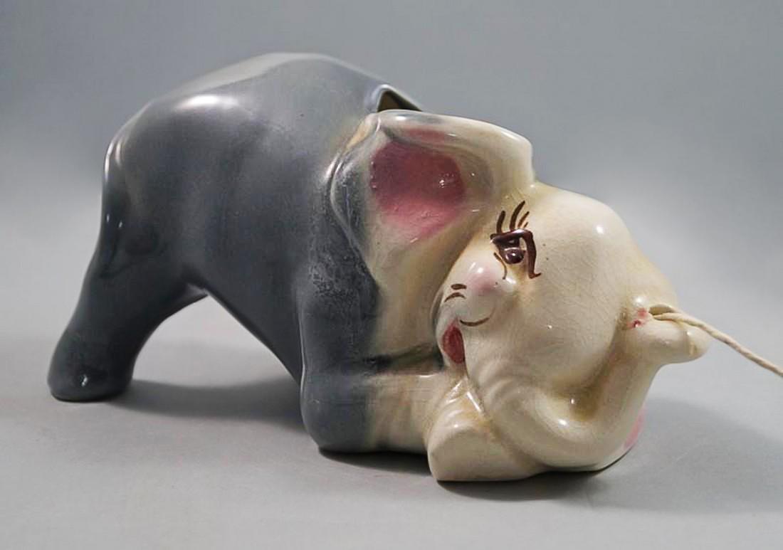Vintage Lying Down Elephant String Holder - 4