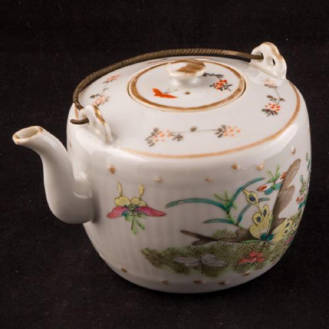 Chinese overglaze enamel and transfer porcelain teapot