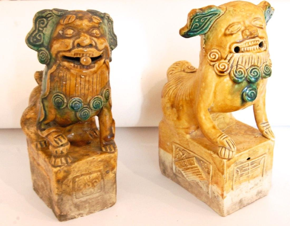 China: Pair of Antique Chinese Pottery Foo Dogs - 5