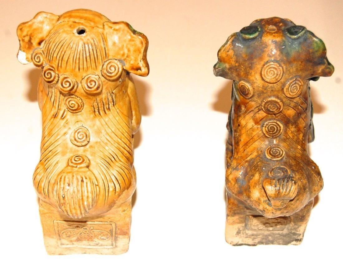 China: Pair of Antique Chinese Pottery Foo Dogs - 6