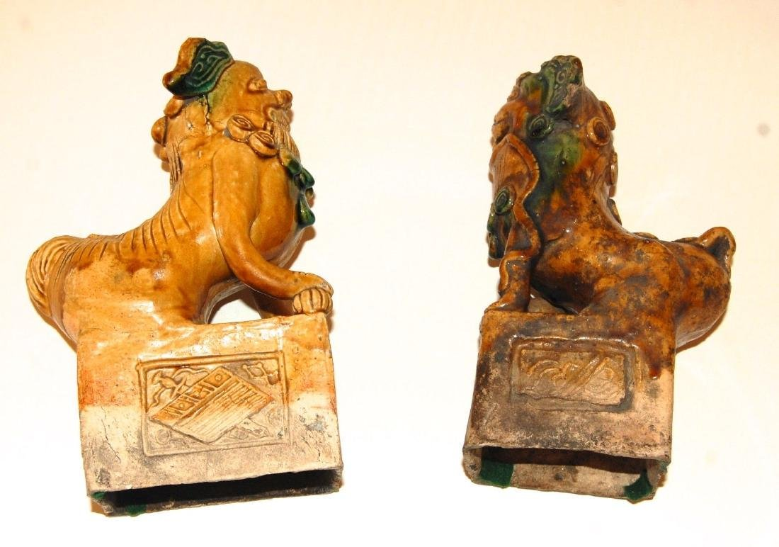 China: Pair of Antique Chinese Pottery Foo Dogs - 9