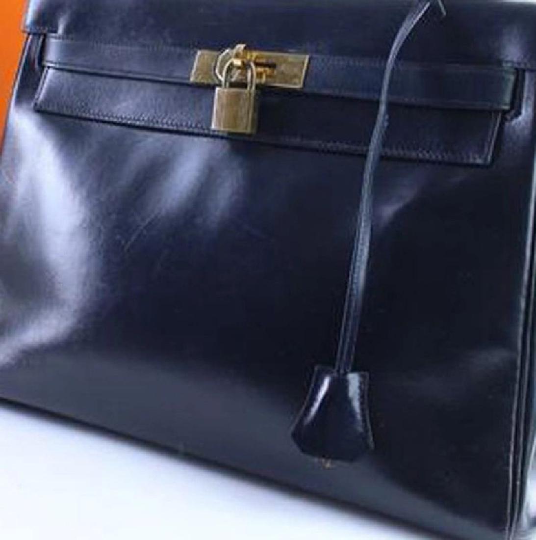 Hermes Vintage Kelly 32 Navy Blue Leather Satchel Bag - 10
