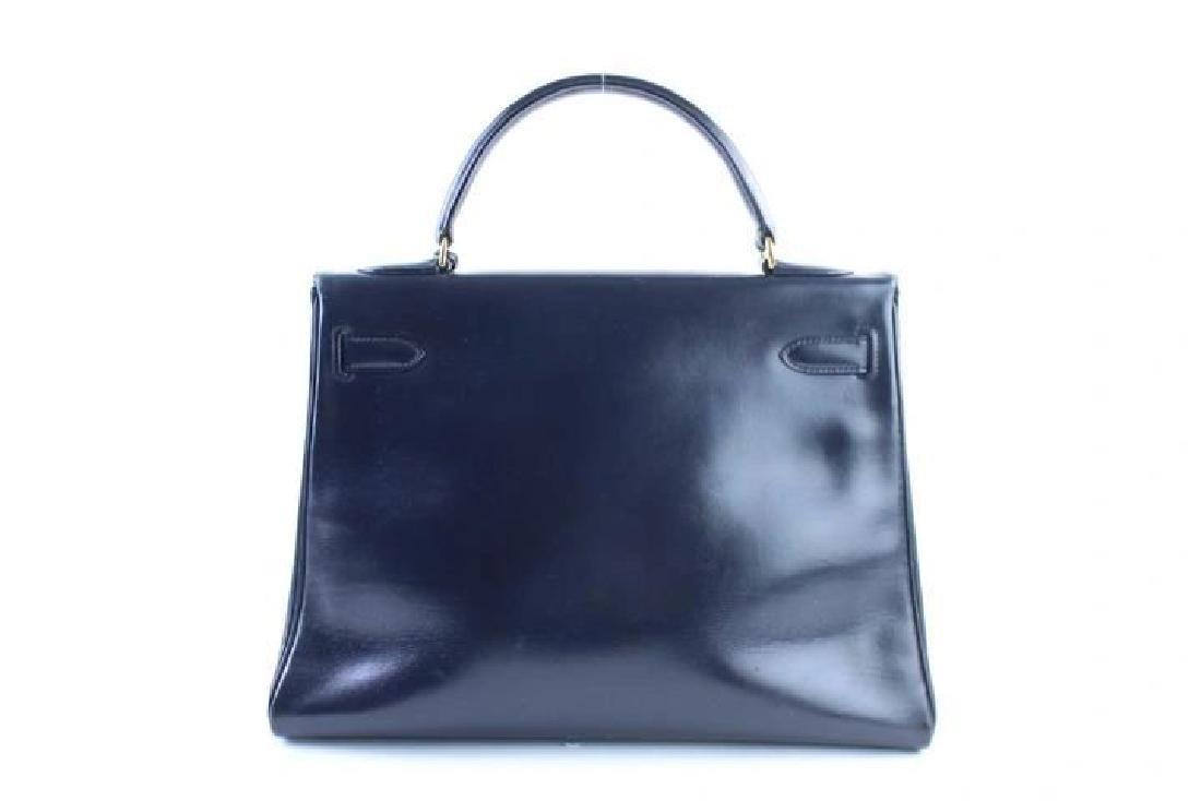 Hermes Vintage Kelly 32 Navy Blue Leather Satchel Bag - 6