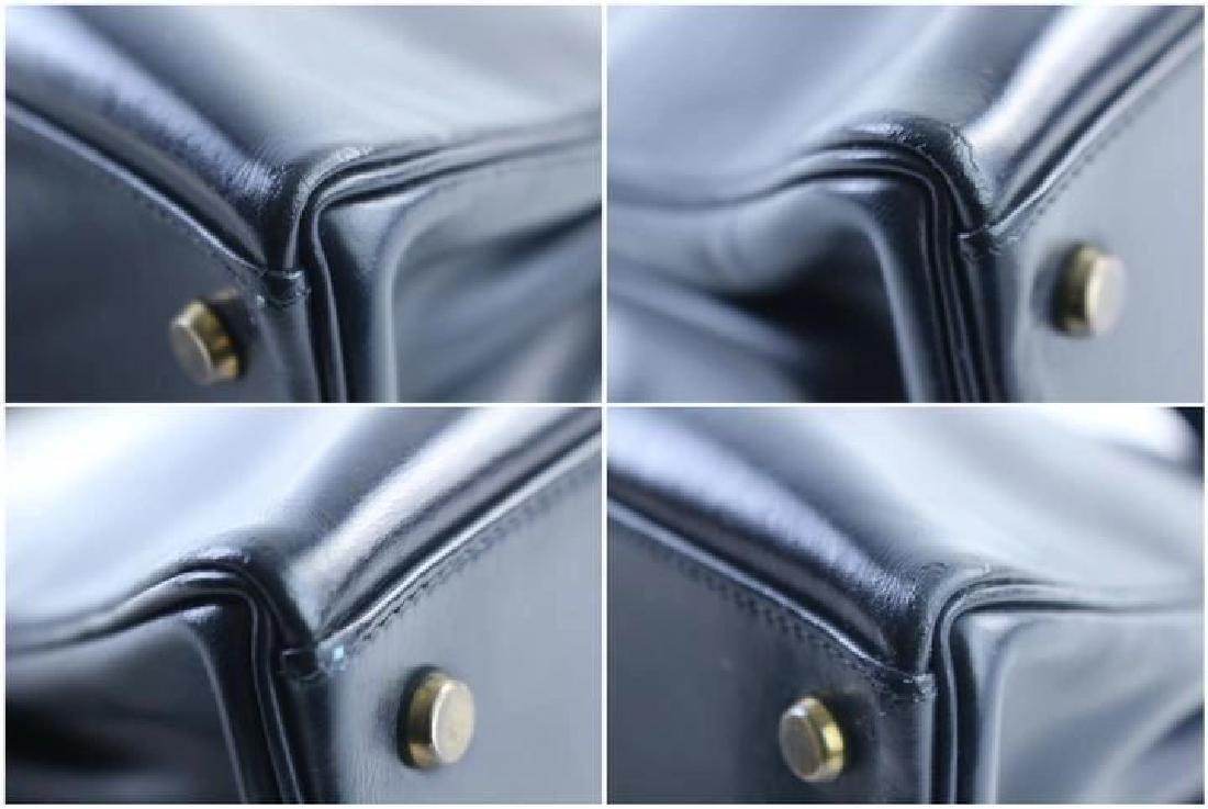 Hermes Vintage Kelly 32 Navy Blue Leather Satchel Bag - 8