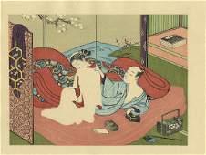 Harunobu Suzuki: Reaching Inside Her Kimono Woodblock