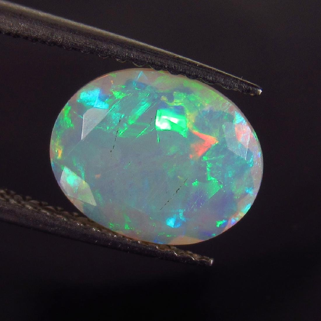 1.29 Ct Genuine Ethiopian Multi-Color Fire Faceted Opal
