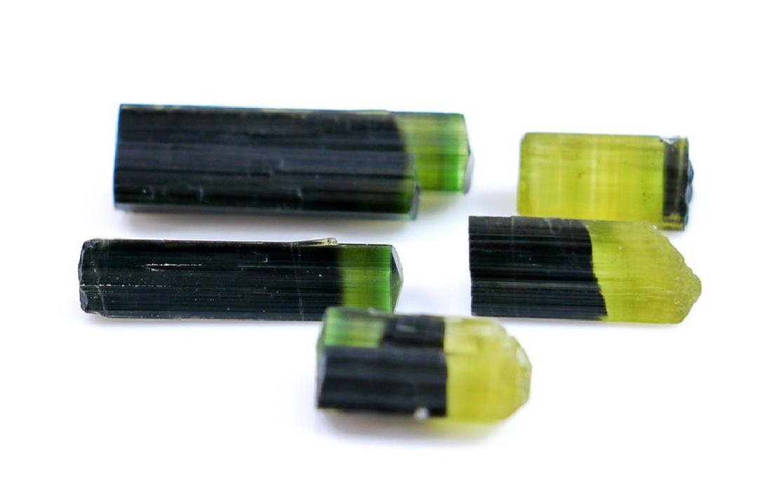 Natural & Unheated~Green Cap Tourmaline Crystal Lot