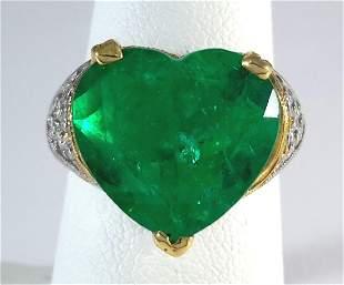 GIA Certified Heart-Shape Emerald  Ring