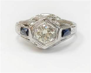 Antique Engagement Ring / 1930's Art Deco / 0.52 Carat