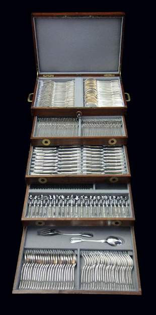 290pc. FRENCH STERLING SILVER FLATWARE SET + CHEST,