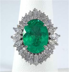 3.27ct Zambian Emerald Platinum Ring