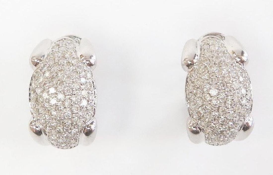 Sparkling Vintage Diamond Cluster Earrings / 14k White