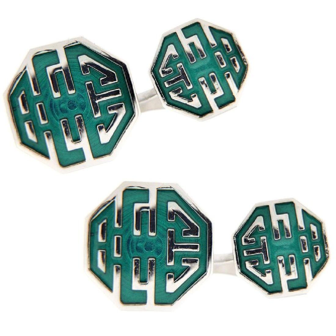 Long and Happy Life Symbol Green Enamel Sterling Silver