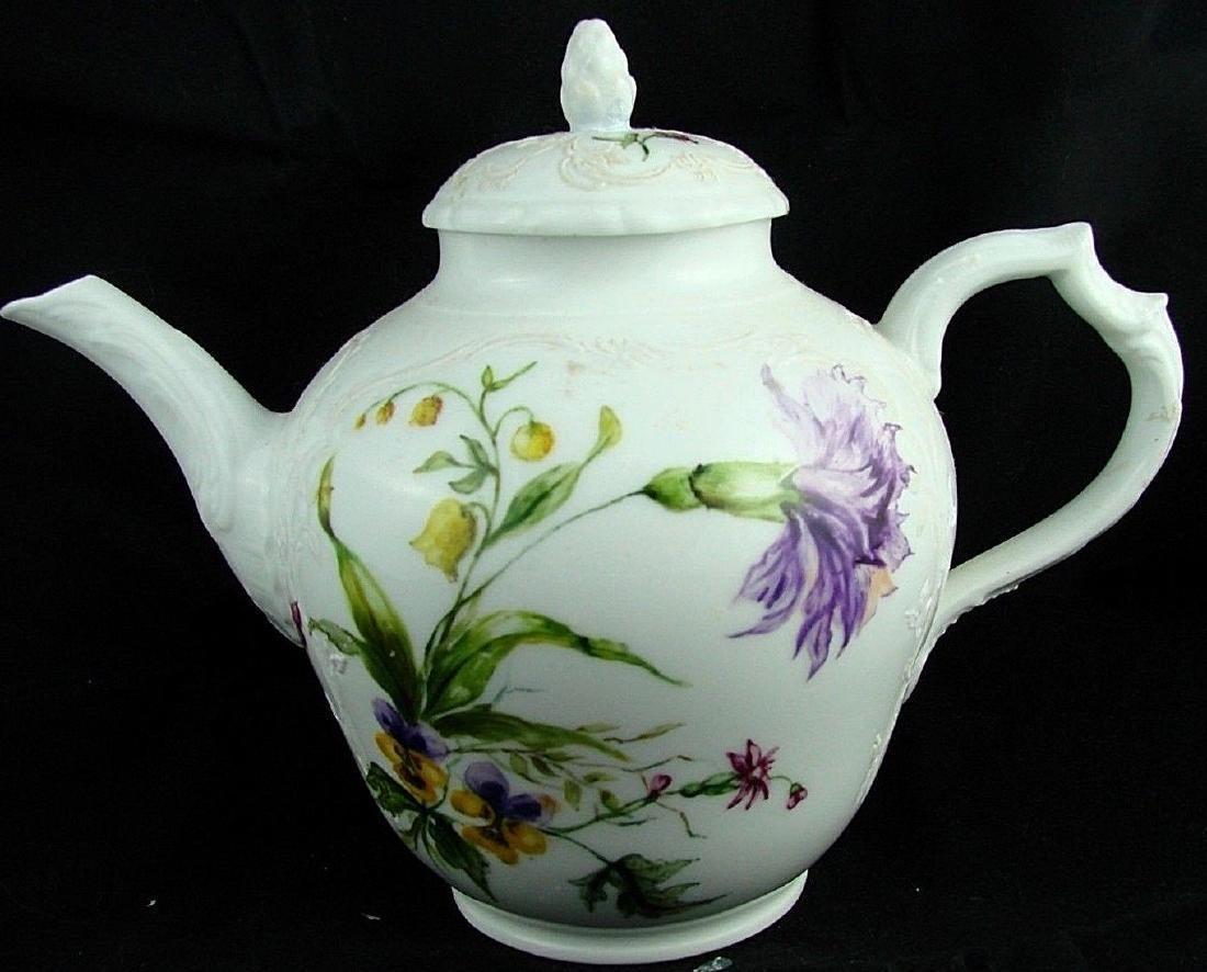 18thC KPM Berlin Porcelain Teapot, Flower Decoration.