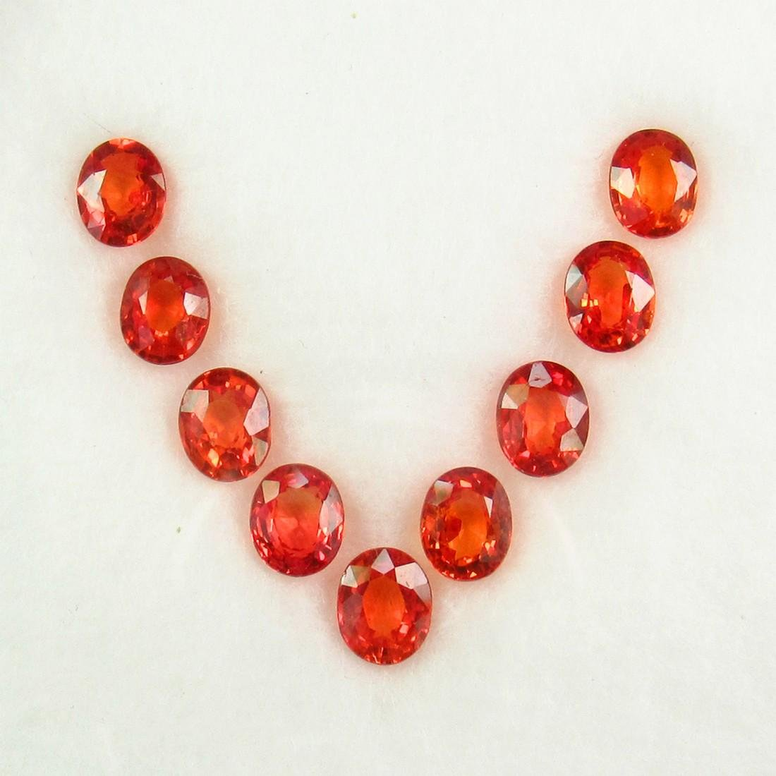 4.23 Ct Natural 9 Reddish Orange Sapphire Oval Necklace