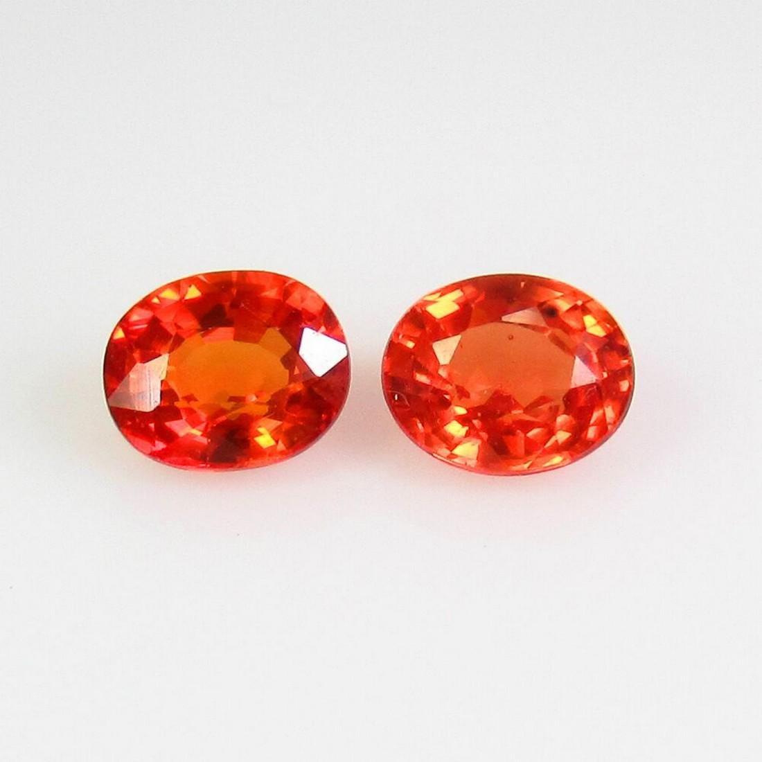1.10 Ct Natural Ceylon Orange Sapphire Oval Pair