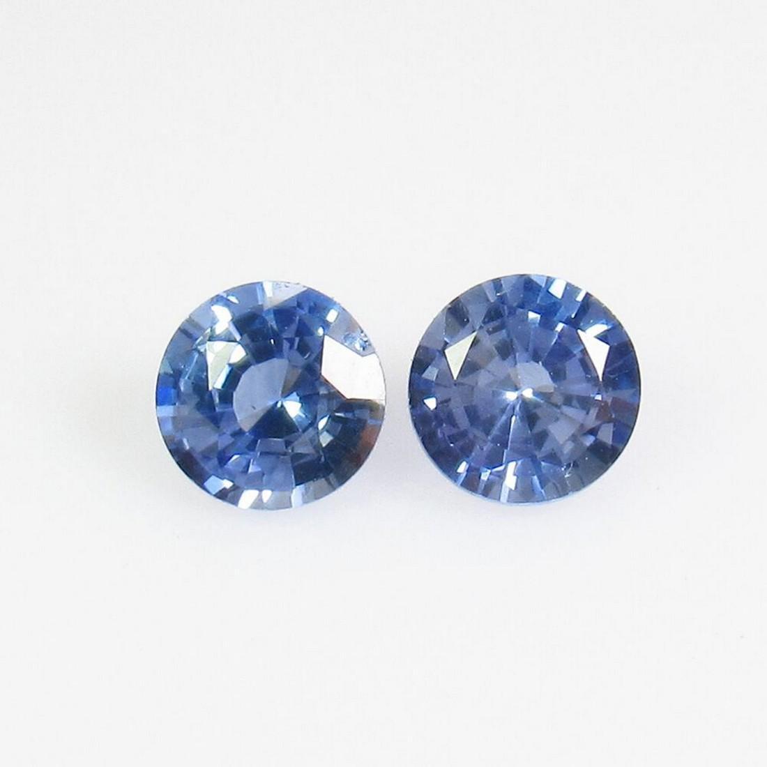 0.79 Ct Natural Blue Sapphire 4.5 mm Round Pair