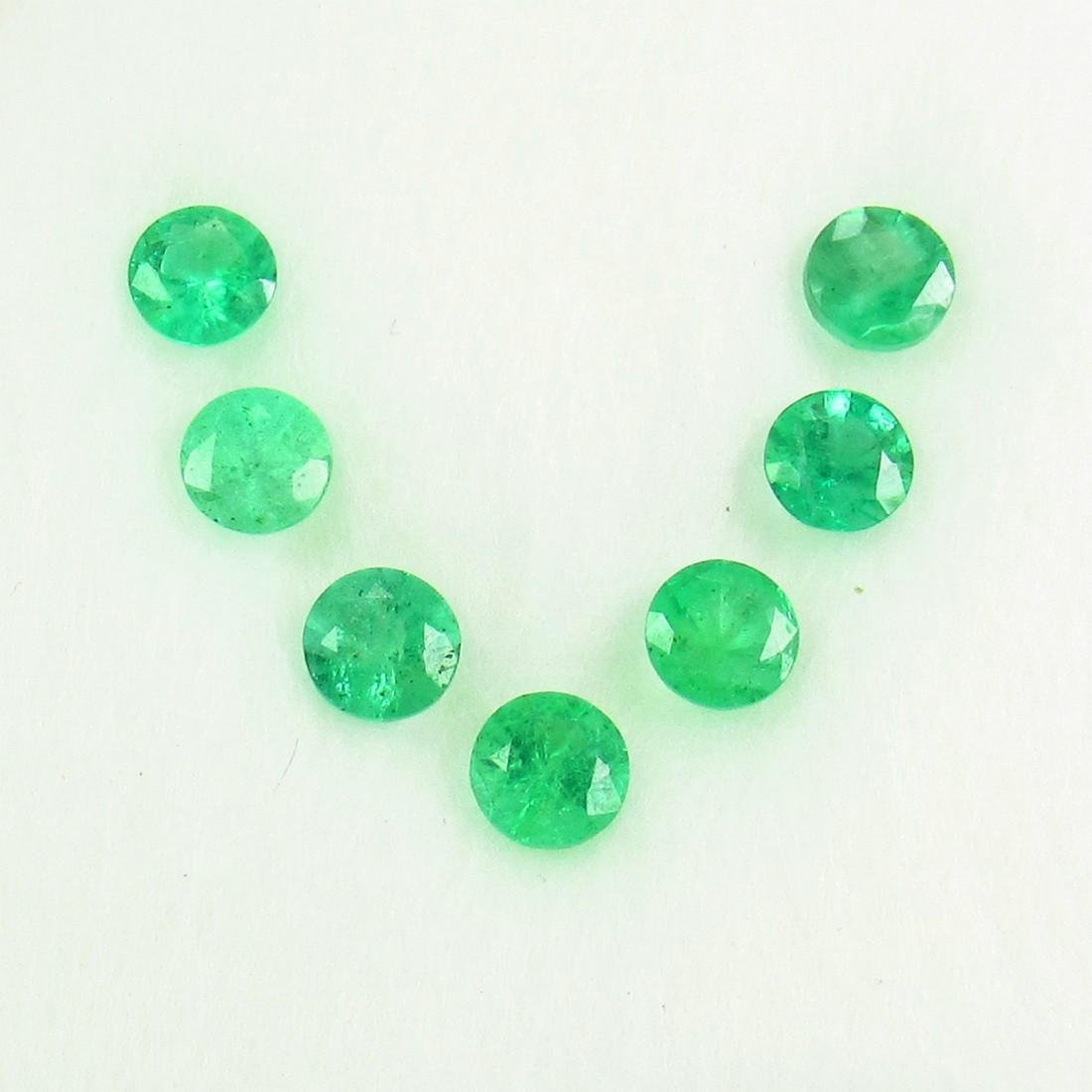 1.65 Ct Natural 7 Emerald 4 mm Round Necklace Set