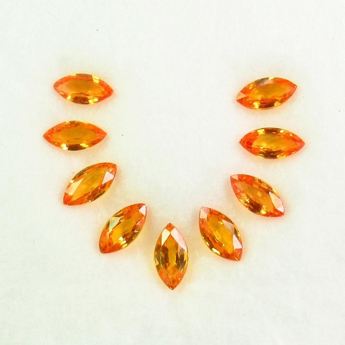 2.98 Ct Natural 9 Orange Sapphire Marquise Necklace Set
