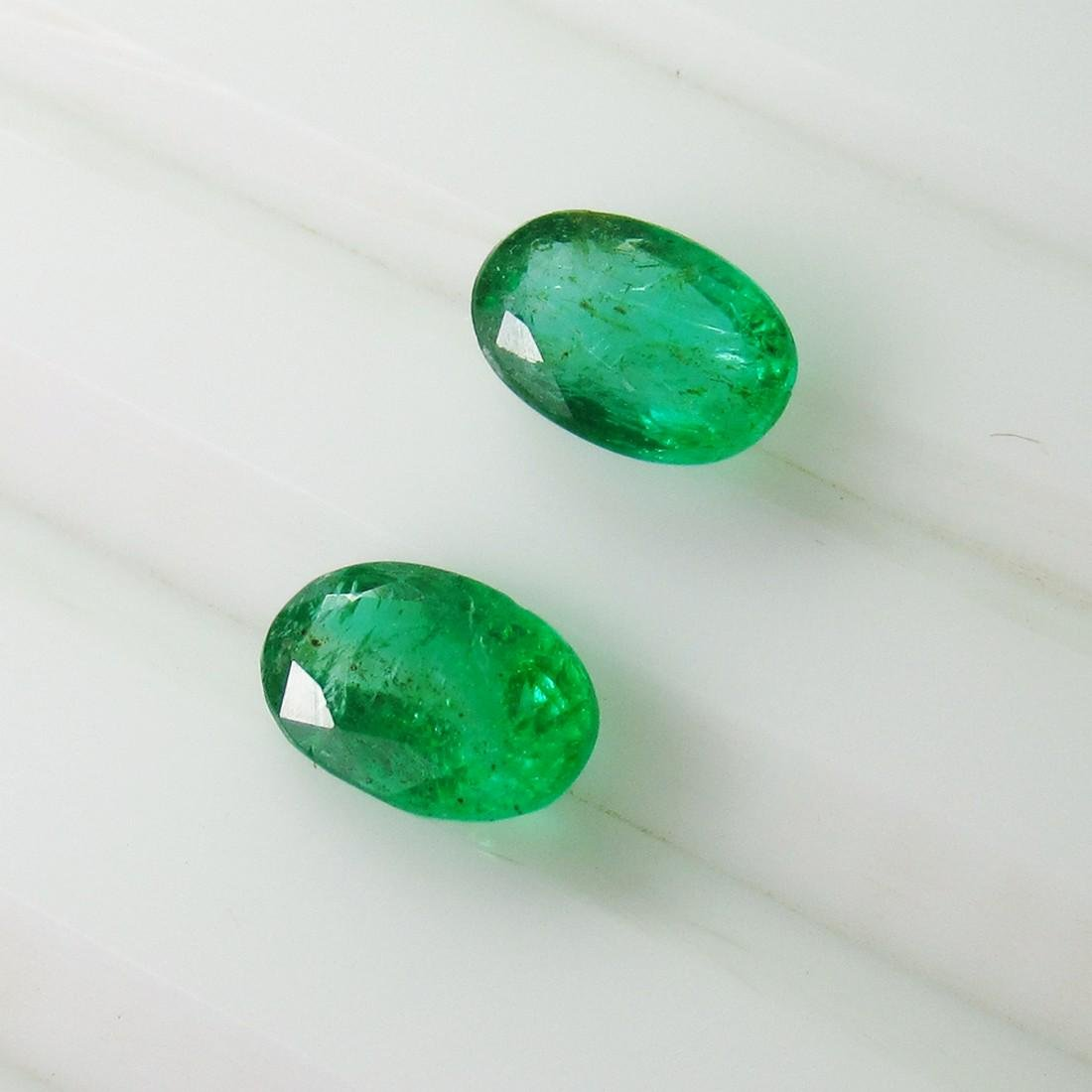 1.48 Ct Natural Zambian Emerald 7X5 mm Oval Pair