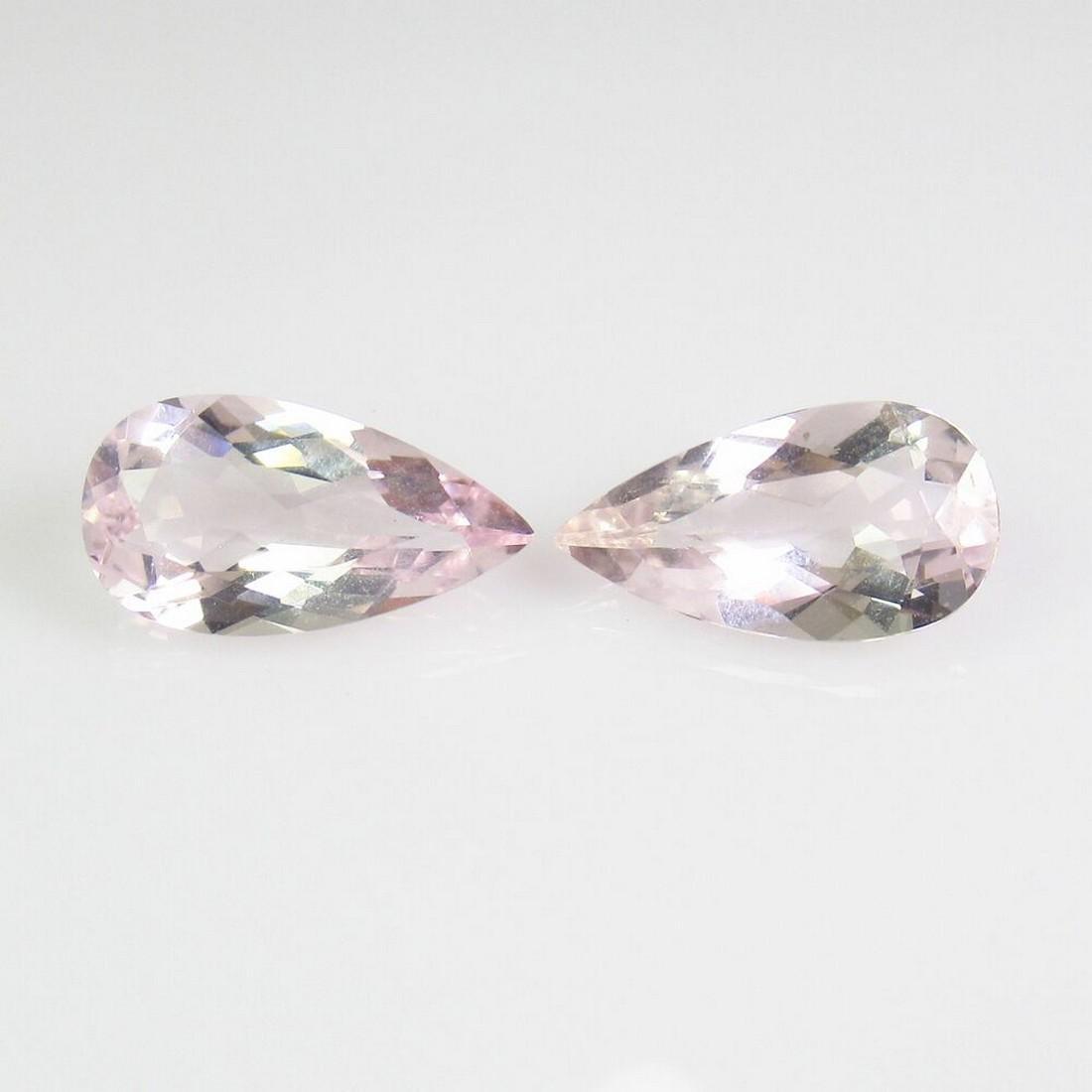 2.85 Ct Natural Pink Morganite 11X6 mm Pear Pair