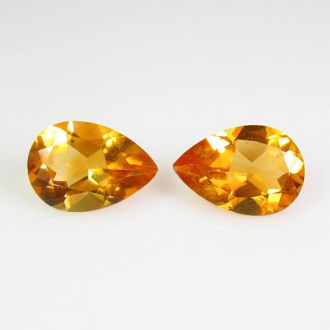 3.14 Ct Natural Yellow Citrine 10X7 mm Pear Pair