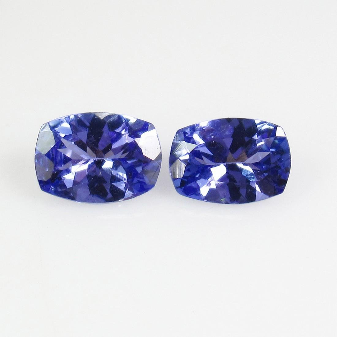 1.63 Ct Natural Tanzanite 7X5 mm Cushion Pair