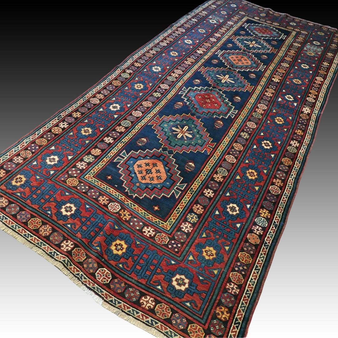 Antique 1800s Kazak rug - 9.5 x 4.3 - 2