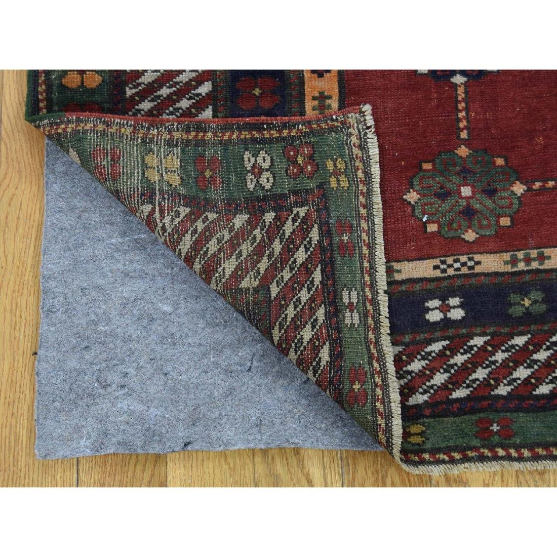 Antique Caucasian Kazak Good Condition Hand Knotted Rug - 5