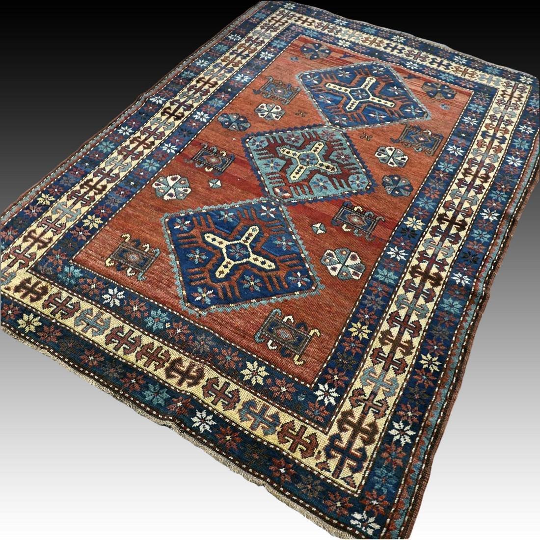 Wonderful antique 1940s Kazak rug6.1 x 4.4