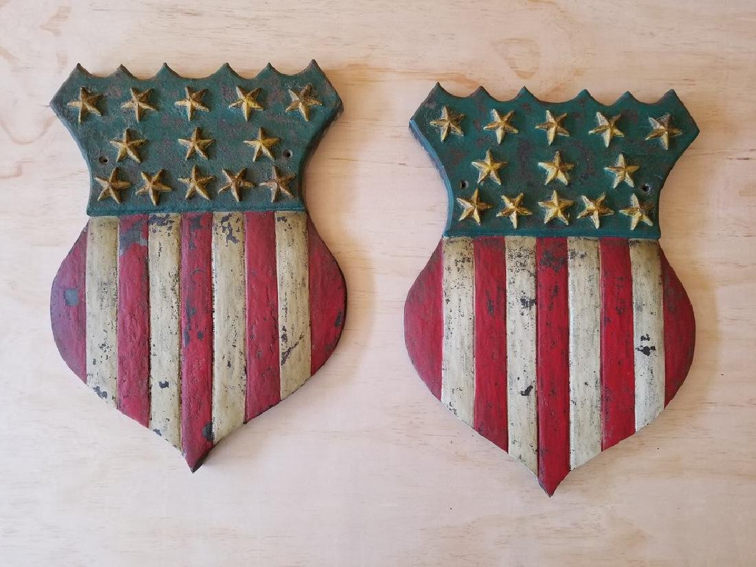 PAIR OF AMERICAN SHIELDS RED, WHITE AND BLUE