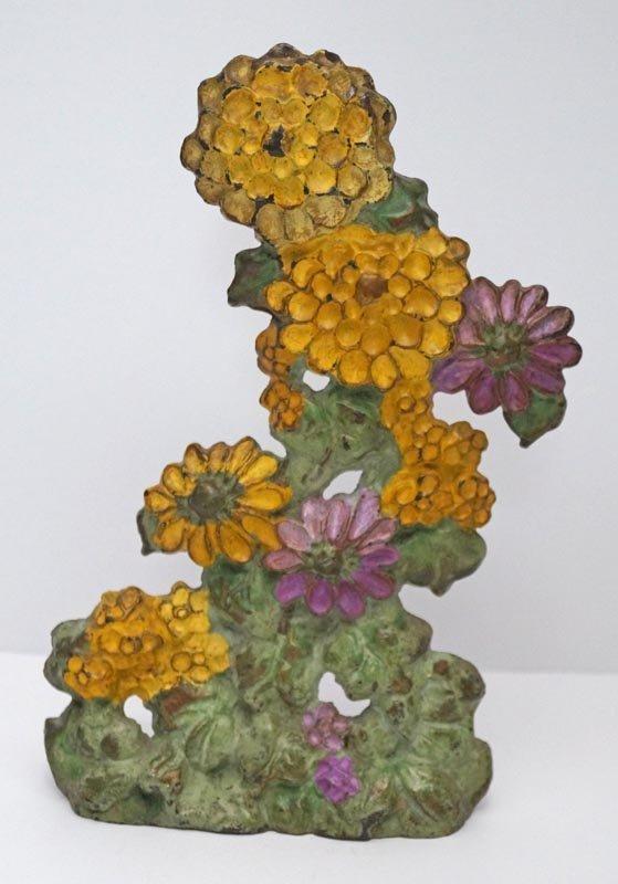 Antique Zinnias Flower Cast Iron Doorstop - 2