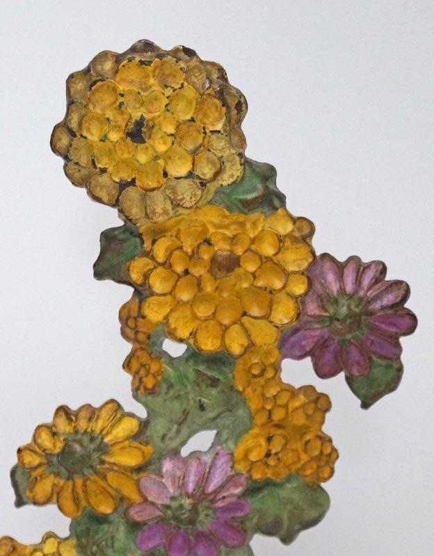 Antique Zinnias Flower Cast Iron Doorstop - 3