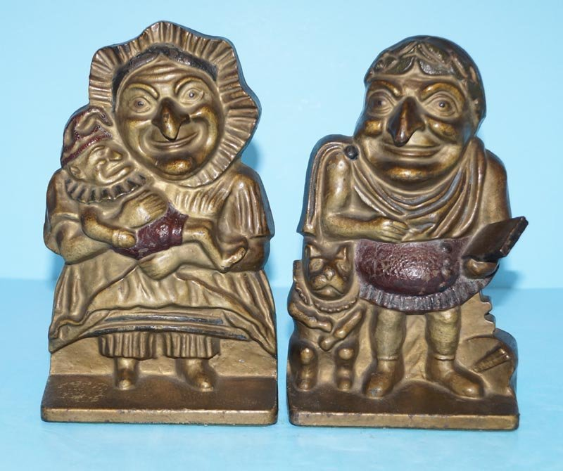 Antique Punch & Judy Cast Iron Bookends
