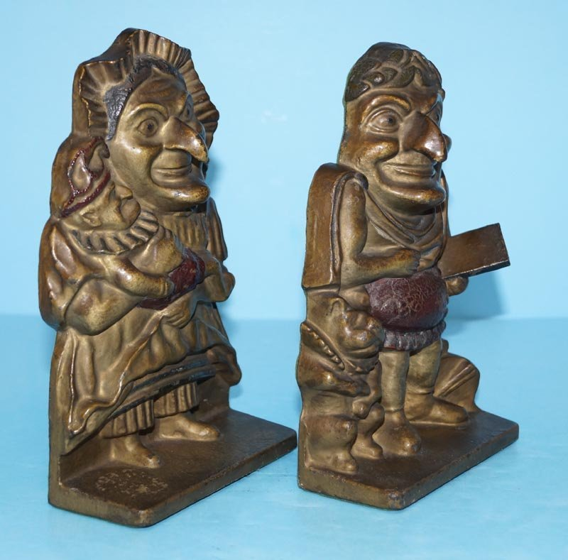 Antique Punch & Judy Cast Iron Bookends - 4